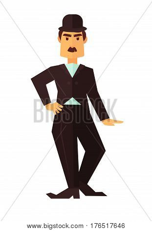Cinema or movie actor comic man or comedian character flat icon for cinema design element