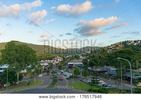 Airlie Beach, Australia - February 04, 2017: Airlie Beach main street. Whitsundays, Queensland