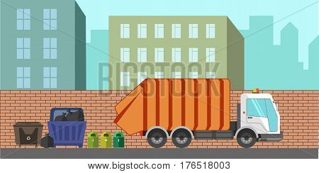 Garbage removal municipal service machine or equipment. Dustcart or litter dust cart removing dumpsters or waste container bins. Vector city urban flat illustration