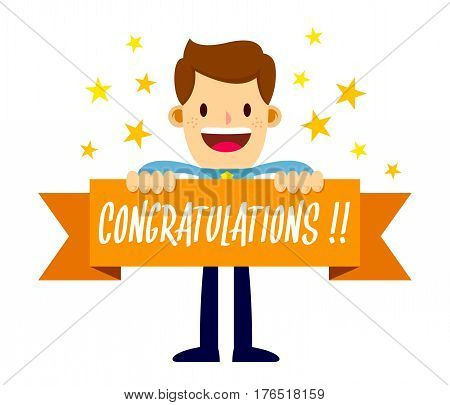 Vector stock of a businessman holding congratulations banner