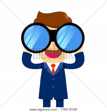 Vector stock of a businessman holding and looking through binocular