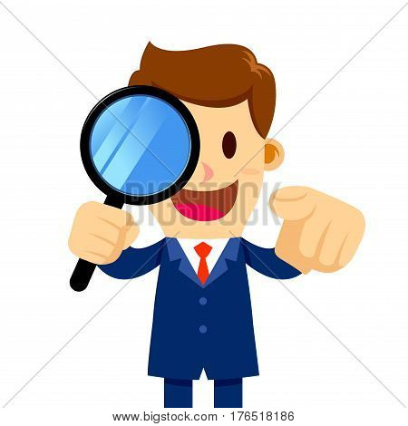 Vector stock of a businessman holding a magnifier glass and pointing his finger