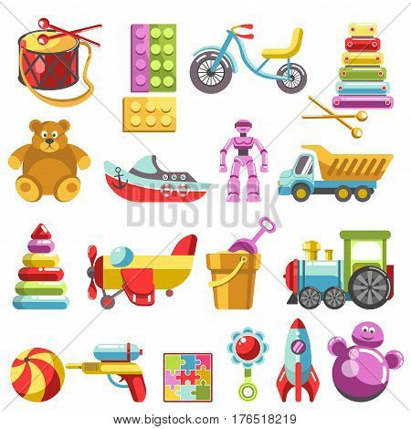 Kid toys vector icons. Children playthings set for kindergarten girls and boys. Flat teddy bear, pyramid and bicycle, rocket, ball and train