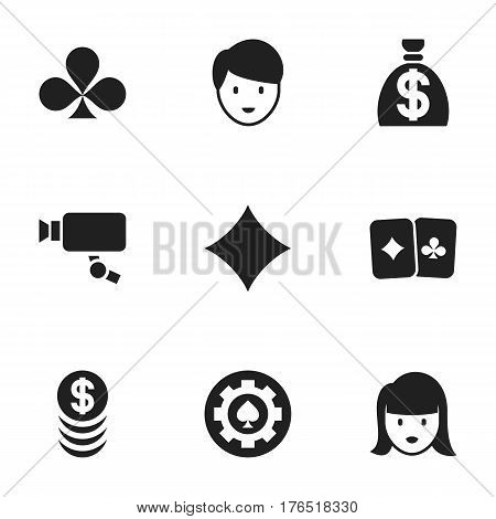 Set Of 9 Editable Gambling Icons. Includes Symbols Such As Black Heart, Stacked Money, Shamrock And More. Can Be Used For Web, Mobile, UI And Infographic Design.