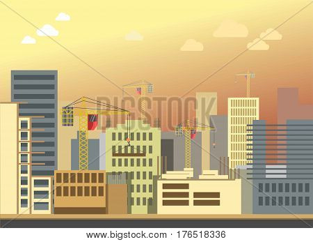 City construction or urban building development vector panorama view. Modern urban skyscrapers houses or living and office buildings street district architecture build works