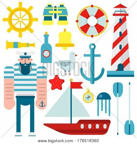 Marine and nautical vector flat icons. Isolated symbols of sailor captain ship, sailboat anchor and helm, lighthouse and lifebuoy, seafarer spyglass and binoculars