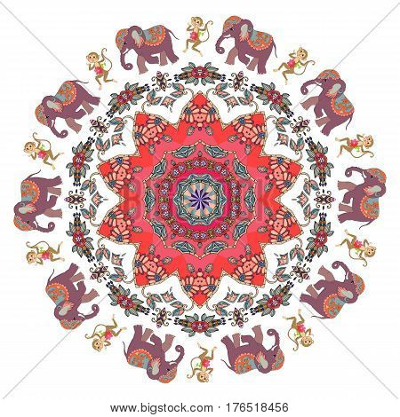 Animal print for children. Cute cartoon elephants and monkeys with clematis and flower-mandala in indian style. Greeting card, napkin, handkerchief, pillowcase. Vector illustration