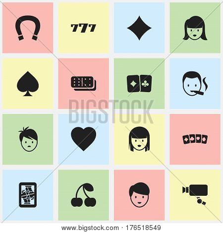 Set Of 16 Editable Business Icons. Includes Symbols Such As Luck Charm, Woman Face, Card Pair And More. Can Be Used For Web, Mobile, UI And Infographic Design.