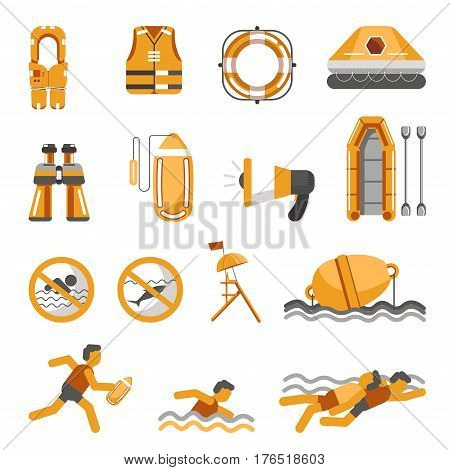 Safety on water infographics vector flat isolated icons and warning signs and swimming instructions rules set. Emergency symbols of lifeguard or water swimmer rescue help