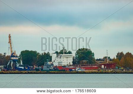 Cargo ship in the port of Riga Europe