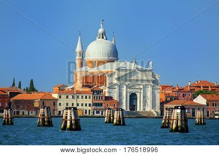 Basilica del Santissimo Redentore on Giudecca island in Venice Italy. It was built as a votive church to thank God for the deliverance of the city from a major outbreak of the plague.