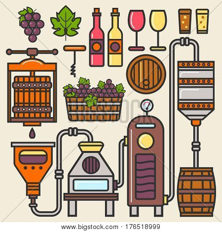 Wine production line or winery winemaking installation elements vector icons. Details of grape press, wooden aging barrel, fermentation and filtration station equipment, glass bottle and corckscrew