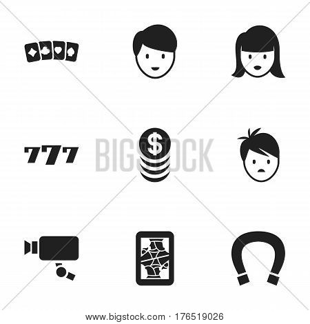 Set Of 9 Editable Gambling Icons. Includes Symbols Such As Tracking Cam, Boy, Card Suits And More. Can Be Used For Web, Mobile, UI And Infographic Design.