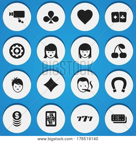 Set Of 16 Editable Gambling Icons. Includes Symbols Such As Tracking Cam, Woman Face, Luck Charm And More. Can Be Used For Web, Mobile, UI And Infographic Design.
