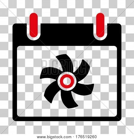 Fan Calendar Day icon. Vector illustration style is flat iconic bicolor symbol, intensive red and black colors, transparent background. Designed for web and software interfaces.