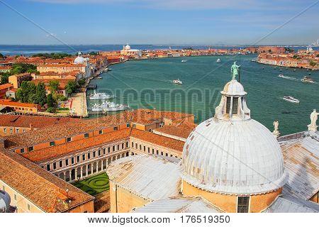 View Of The Dome Of San Giorgio Maggiore Church And Giudecca Canal In Venice, Italy