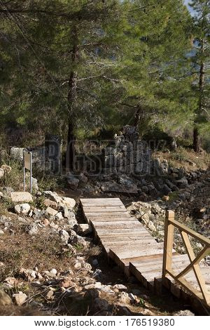 Wooden stairs in ancient city with old stone wall and pines in background portrait layout