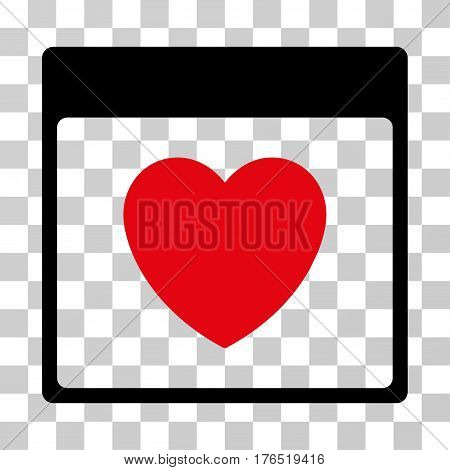 Favourite Heart Calendar Page icon. Vector illustration style is flat iconic bicolor symbol, intensive red and black colors, transparent background. Designed for web and software interfaces.