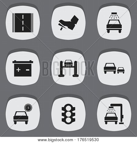 Set Of 9 Editable Transport Icons. Includes Symbols Such As Car Lave, Highway, Accumulator And More. Can Be Used For Web, Mobile, UI And Infographic Design.
