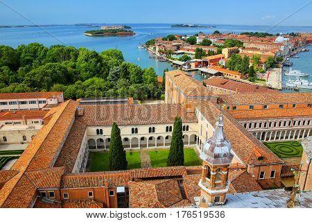 View Of The Courtyards Of San Giorgio Monastery And Giudecca Island In Venice, Italy.