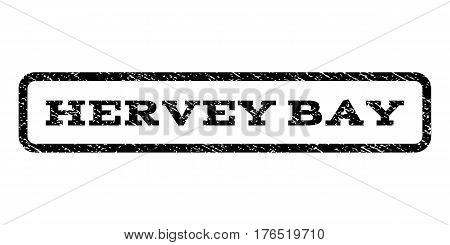 Hervey Bay watermark stamp. Text caption inside rounded rectangle with grunge design style. Rubber seal stamp with unclean texture. Vector black ink imprint on a white background.