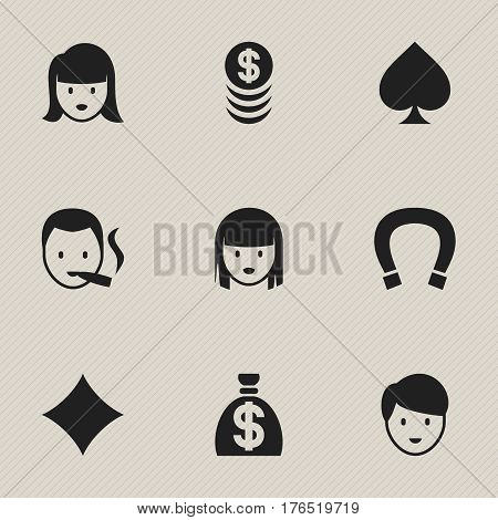 Set Of 9 Editable Business Icons. Includes Symbols Such As Casino Worker, Moneybag, Game Card And More. Can Be Used For Web, Mobile, UI And Infographic Design.