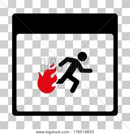 Fire Evacuation Man Calendar Page icon. Vector illustration style is flat iconic bicolor symbol, intensive red and black colors, transparent background. Designed for web and software interfaces.