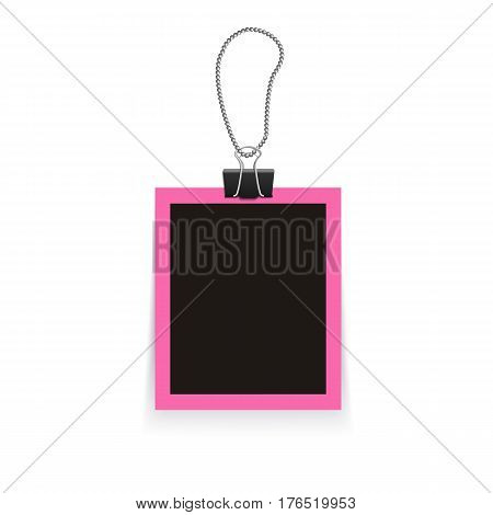 Isolated realistic empty vector photo frame mockup with clamp. Template photo design.