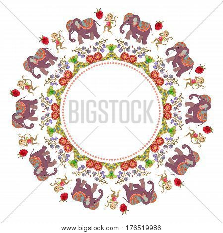 Beautiful round frame with flowers, cute cartoon elephants, dancing monkeys and raspberries. Vector illustration.