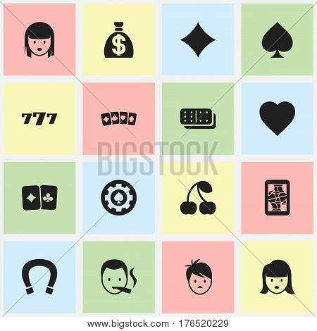 Set Of 16 Editable Game Icons. Includes Symbols Such As Smoker, Card Suits, Moneybag And More. Can Be Used For Web, Mobile, UI And Infographic Design.