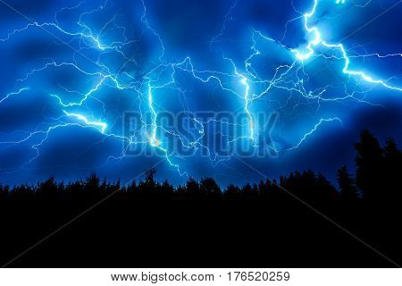 Lightning Strike On A Dark Blue Sky