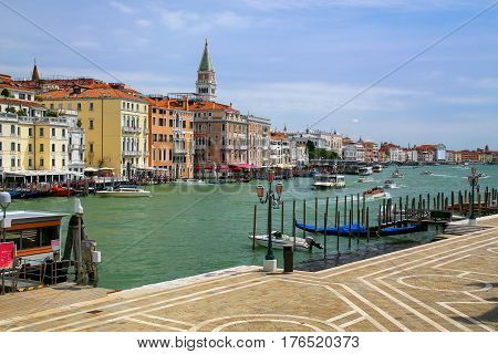 Waterfront Of Grand Canal In Venice, Italy