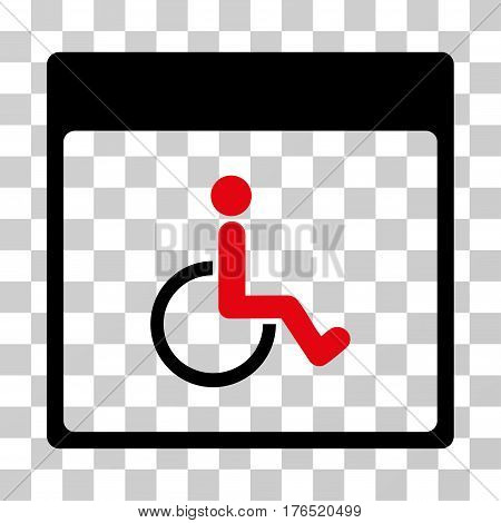 Handicapped Calendar Page icon. Vector illustration style is flat iconic bicolor symbol, intensive red and black colors, transparent background. Designed for web and software interfaces.