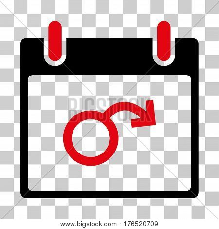 Impotence Calendar Day icon. Vector illustration style is flat iconic bicolor symbol, intensive red and black colors, transparent background. Designed for web and software interfaces.