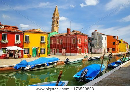 Colorful Houses By Canal In Burano, Venice, Italy.