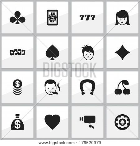 Set Of 16 Editable Business Icons. Includes Symbols Such As Moneybag, Rhombus, Love And More. Can Be Used For Web, Mobile, UI And Infographic Design.