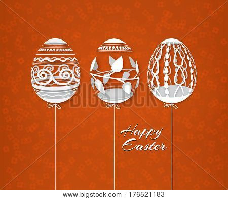 Easter pattern with openwork eggs. Paper art. White traditional symbols on a colored floral background. Festive postcard. Vector illustration of EPS10