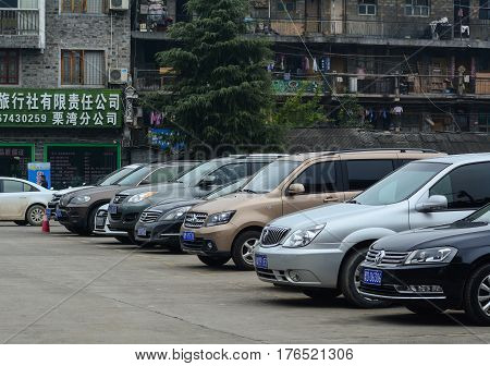 Cars At The Parking Lot In Fenghuang, China