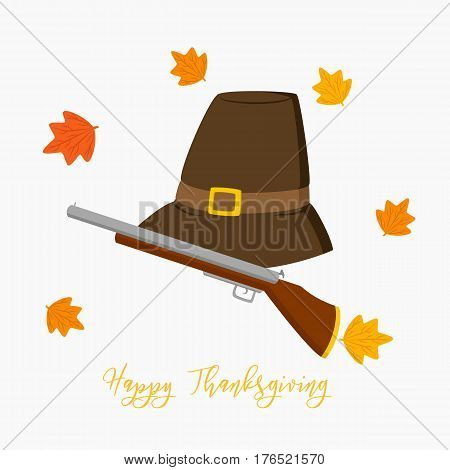 Thanksgiving Pilgrim hat and hunting rifle vector, circle maple leafs vector