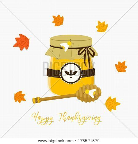 a honey jar with honey dipper, circle maple leafs vector