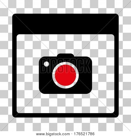 Photo Camera Calendar Page icon. Vector illustration style is flat iconic bicolor symbol, intensive red and black colors, transparent background. Designed for web and software interfaces.