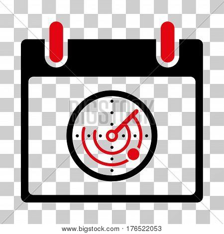 Radar Calendar Day icon. Vector illustration style is flat iconic bicolor symbol, intensive red and black colors, transparent background. Designed for web and software interfaces.