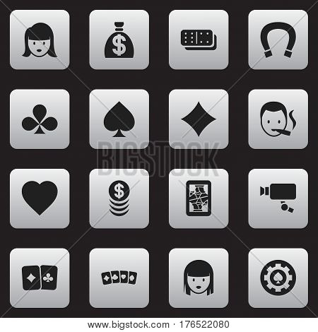 Set Of 16 Editable Gambling Icons. Includes Symbols Such As Rhombus, Moneybag, Tracking Cam And More. Can Be Used For Web, Mobile, UI And Infographic Design.