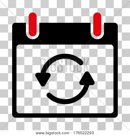 Refresh Calendar Day icon. Vector illustration style is flat iconic bicolor symbol, intensive red and black colors, transparent background. Designed for web and software interfaces.