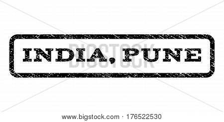 India, Pune watermark stamp. Text tag inside rounded rectangle frame with grunge design style. Rubber seal stamp with scratched texture. Vector black ink imprint on a white background.