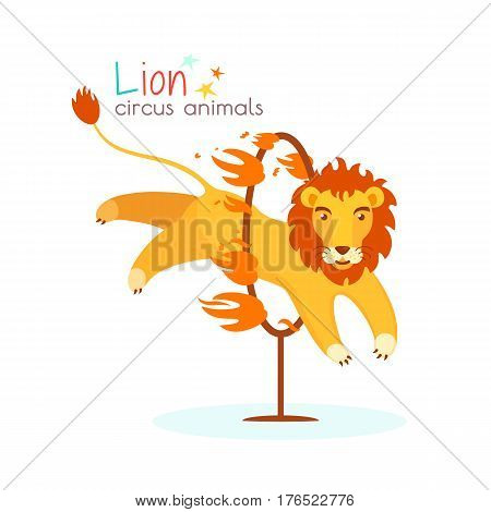 Circus lion jumps through the hoop and the fire. Trained predatory animal performs dangerous trick at circus arena. Vector illustration in cartoon style for ticket invitation card flyer