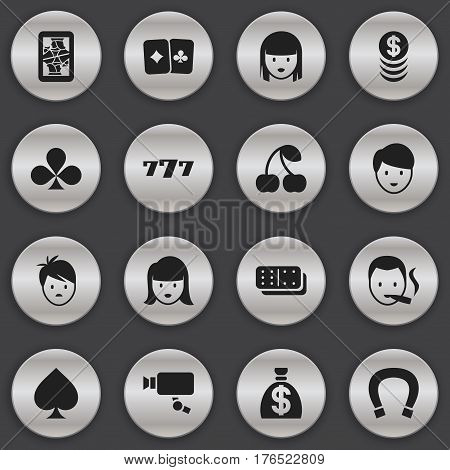 Set Of 16 Editable Game Icons. Includes Symbols Such As Tracking Cam, Blackjack, Boy And More. Can Be Used For Web, Mobile, UI And Infographic Design.