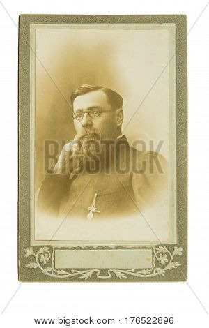 Vintage Photo Of A Sitting Man With Glasses, Mustache And Beard.