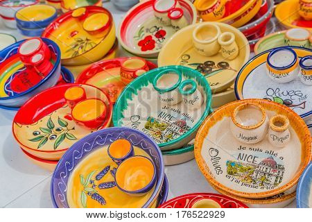 Ceramic Souvenir Pottery Dishes At The Cours Saleya Famous Market In Nice France