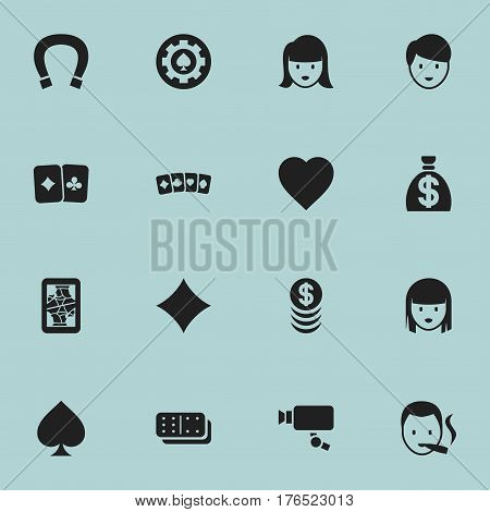 Set Of 16 Editable Game Icons. Includes Symbols Such As Casino Worker, Stacked Money, Love And More. Can Be Used For Web, Mobile, UI And Infographic Design.